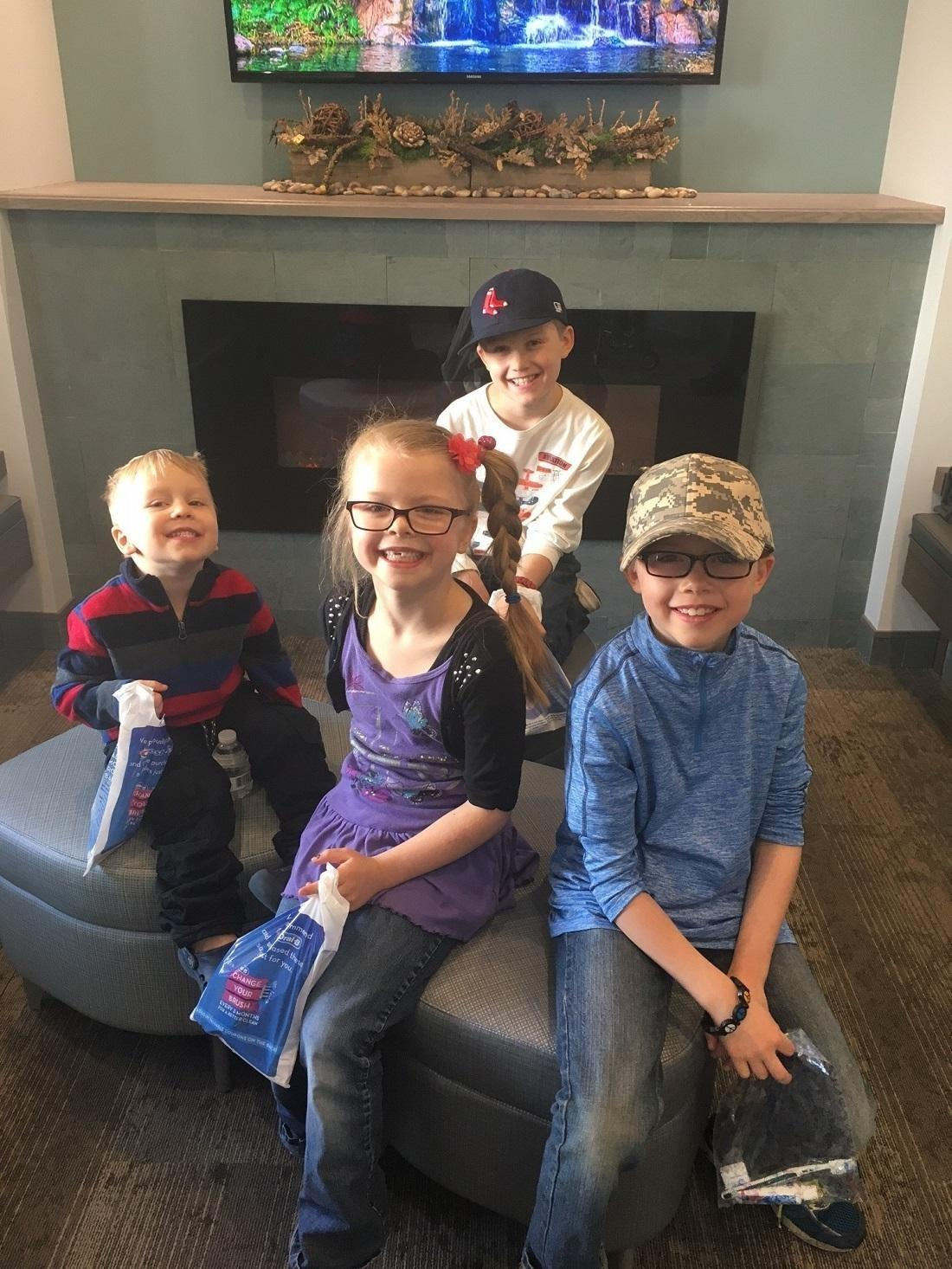 Kids after their dental appointment at White Bear Smiles