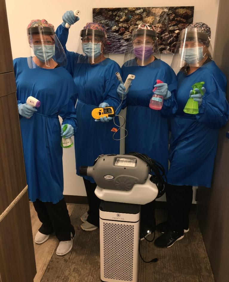 Our Team with their PPE at our White Bear Lake dentist office